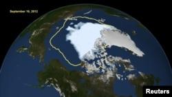 Знімок НАСА показує рекордно низький розмір арктичного льоду, 16 вересня 2012 року