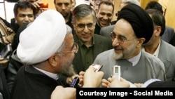 در تصویر: دیدار روحانی و خاتمی در پی انتخابات ریاستجمهوری در سال ۱۳۹۲
