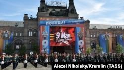 Парад в отмечаемый 9 мая День Победы в Москве.