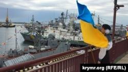 Ukraina arbiy deñiz quvetleri kününiñ qayd etilmesi esnasında, Odessa, 2017 senesi iyül 2 künü