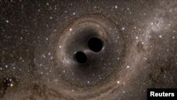 Фантазия художника на тему слияния двух черных дыр