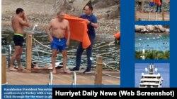 Түркиялық Hurriyet Daily News вебсайты жариялаған Қазақстан президенті Нұрсұлтан Назарбаевқа (ортада тұр) ұқсас адамның суреті.