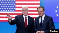 АҚШ вице-президенти Майк Пенс Европа кенгаши президенти Дональд Туск билан 20 февралда Брюсселда учрашди.