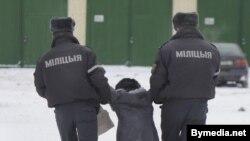 Супрацоўнікі міліцыі затрымліваюць Ірэну Валюсь ля будынка суда, дзе праходзіць працэс па справе Тэрэсы Собаль.