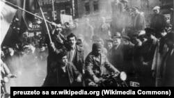 Detalj sa protesta 27. marta 1941.