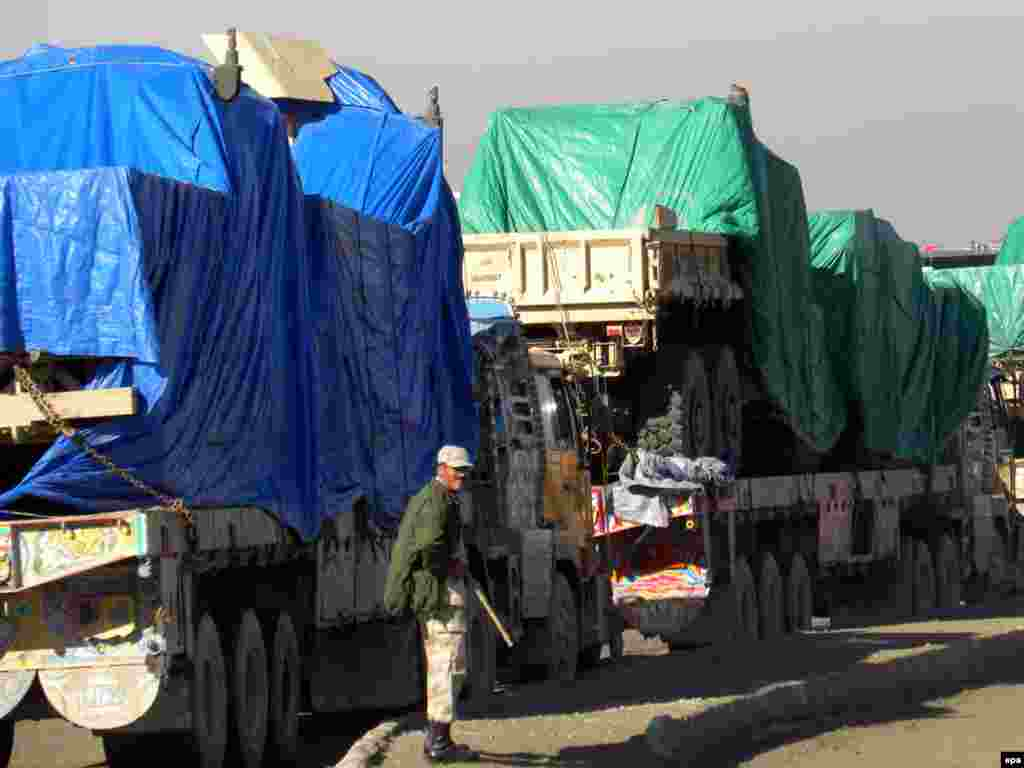 Pakistani trucks carrying NATO supplies to Afghanistan await clearance at Chaman on the Pakistani border with Afghanistan in 2009.