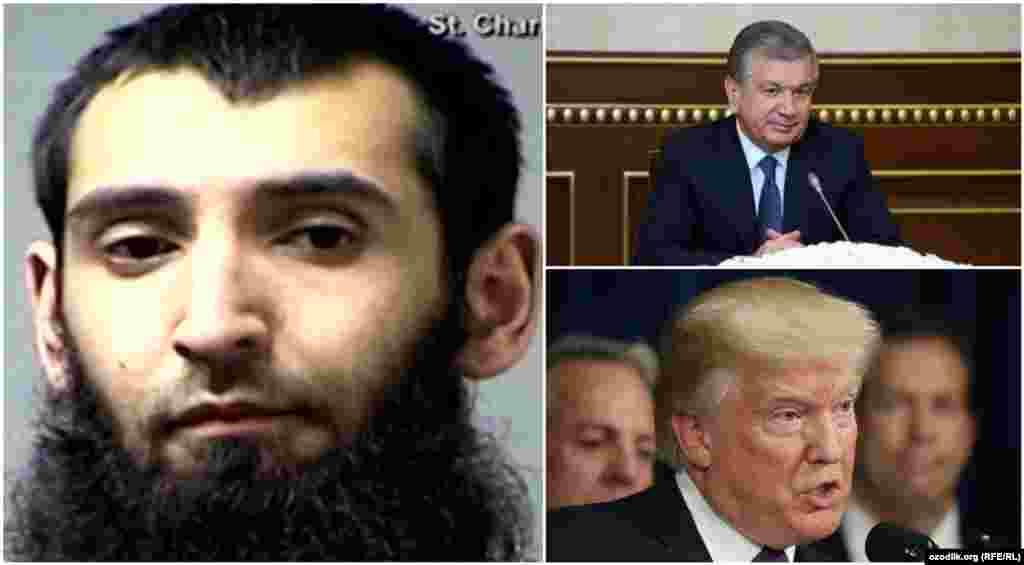 САД / УЗБЕКИСТАН - Колаж од фотографиите на напаѓачот од Њујорк Сајфуло Саипов, американскиот претседател Донал Трамп и узбекистанскиот претседател Шавкат Мирзијојев. Претседателот Трамп нареди дополнителни екстремни проверки на имигранти по нападот во Њујорк, во кој беа убиени осум, а повредени десетина лица.