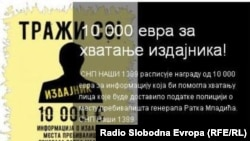 "One of the posters put up by the Serbian ultranationalist group ""1389"" honouring war crimes fugitive Ratko Mladic."