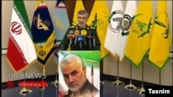 TV grab - Revolutionary Guards Aerospace Commander Amir-Ali Hajizadeh during his televised press conference. January 9, 2020