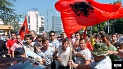 Supporters of the Democratic Union for Integration, Macedonia's largest ethnic Albanian party, protest in Skopje.