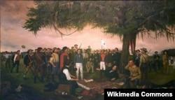 Генерал Санта-Анна сдается раненому в ногу президенту Техаса Сэму Хьюстону после сражения у Сан-Хасинто в апреле 1836 года. Художник Уильям Генри Хаддл. 1886