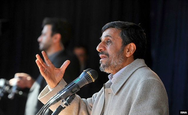 Ahmadinejad speaks during a trip to Iran's West Azerbaijan Province on May 5.