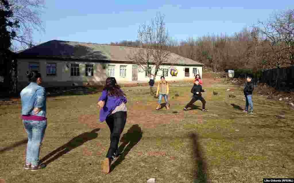 Students play dodgeball at a school in the village of Kumistavi, as photographed by P.E. teacher Lika Chkonia. One team has an advantage in the low winter sunlight but Lika says that's just something her kids have learned to deal with.