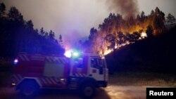 Португальские пожарные тушат лесные пожары, 18 июня 2017 год