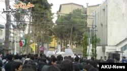Students protesting at Amir Kabir University in Tehran on February 22.