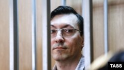 Aleksandr Potkin, also known as Aleksandr Belov, at his court hearing in Moscow on August 24.
