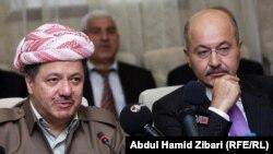 رئيس اقليم كردستان مسعود برزاني ورئيس وزراء الاقليم برهم صالح