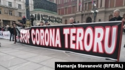 Sa antikorona protesta u Beogradu (20. mart)