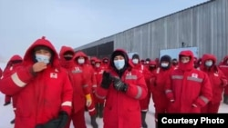 На кадре из видео — забастовка нефтяников на месторождении Кокжиде. 26 января 2021 года.