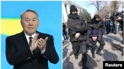 Президент Казахстана Нурсултан Назарбаев на съезде своей партии «Нур Отан» и задержания в Алматы в день съезда. 27 февраля 2019 года.