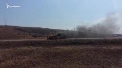 На трассе Керчь-Курортное сгорел автомобиль (видео)
