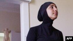Australian model Mecca Laalaa wears an Islamic swimsuit.