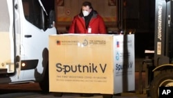 A shipment of Russia's Sputnik V coronavirus vaccine arrives at Kosice Airport in Slovakia on March 1.