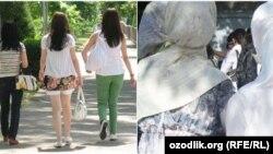 Узбекские девушки в открытой и мусульманской одежде.