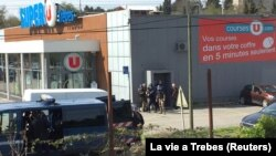 Супермаркет в городе Треб, где произошло нападение