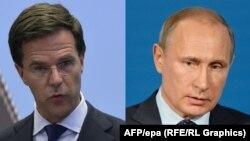 Нидерланд премьер-министрі Марк Рутте (сол жақта) мен Ресей президенті Владимир Путин.