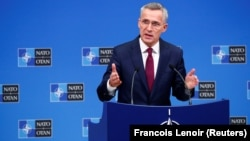 NATO Secretary-General Jens Stoltenberg holds a news conference ahead of a NATO leaders summit, in Brussels on November 29.