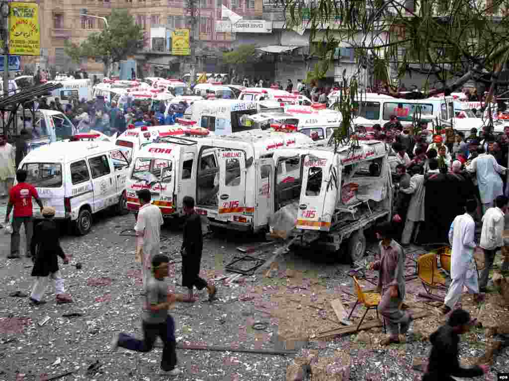The uniqueness of the Ashura rituals to Shi'ite Islam has led to the targeting of such gatherings by individuals seeking to sharpen the Shi'ite-Sunni divide. This suicide bombing in the southern Pakistani port city of Karachi in December 2009 killed more than a dozen people and injured many others.
