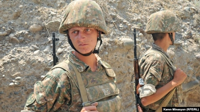 Nagorno-Karabakh -- Armenian soldiers on frontline duty in Martakert district, 20Jul2012