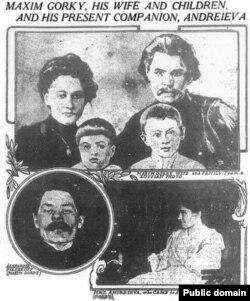 Фотография Горького с Пешковой в американской прессе. Библиотека Конгресса США