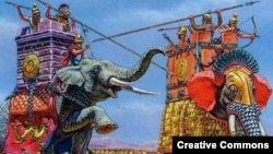 Индийские воины на боевых слонах