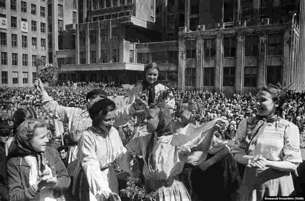 Belarusians celebrate victory in central Minsk. More than a quarter of the entire population of the Belorussian S.S.R. were killed during World War II.