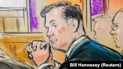 Former Trump campaign chief Paul Manafort is shown in a courtroom sketch as he sits in federal court on the opening day of his trial on bank- and tax-fraud charges stemming from Special Counsel Robert Mueller's investigation into Russian meddling in the 2016 U.S. presidential election, in Alexandria, Virginia, on July 31.