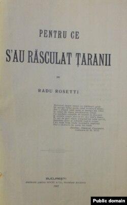 Radu Rosetti, Pentru ce s-au răsculat țăranii, București, 1907