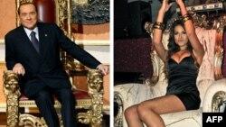 Foto e kombinuar e Berlusconit (majtas) dhe e vajzës Karima al-Mahroug