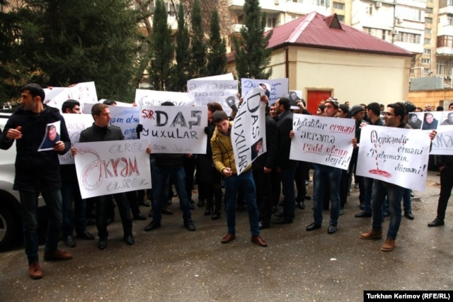 A protest in front of author Akram Aylisli's home in Baku on January 31