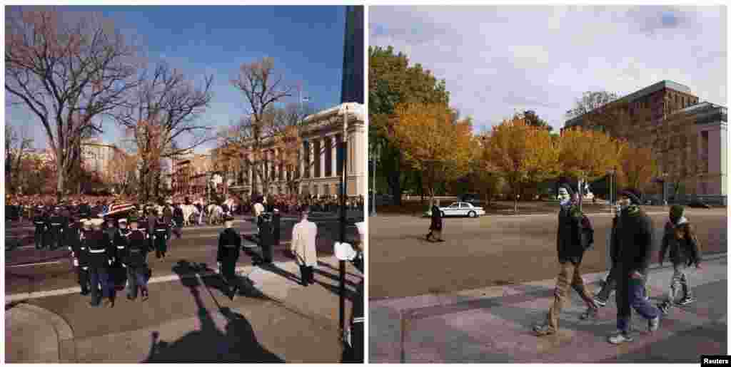 Left photo: The General Lafayette Statue as U.S. President John F. Kennedy's flag-draped casket departs the White House, Washington, D.C., during his state funeral on November 24, 1963. Right photo: The same spot on November 5, 2013.