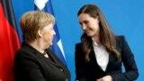 Канцлер Нямеччыны Ангела Мэркель і прэм'ер-міністарка Фінляндыі Санна Марын. Люты 2020.