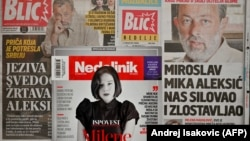 The front pages and covers of Serbia's main newspapers and magazines depict veteran director Miroslav Aleksic and his accuser, actress Milena Radulovic.