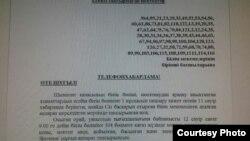 Копия телефонограммы, предположительно отправленной из отдела образования в школы Шымкента с требованием предоставить сведения по обходу микрорайона.