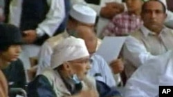 Convicted Lockerbie bomber Abdel Basset al-Megrahi attending a pro-government rally in Tripoli back in July, 2011.