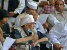 Convicted Lockerbie bomber Abdel Basset al-Megrahi attending a pro-government rally in Tripoli on July 26.