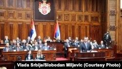 Aleksandar Vuçiq gjatë fjalimit të tij në Kuvendin e Serbisë
