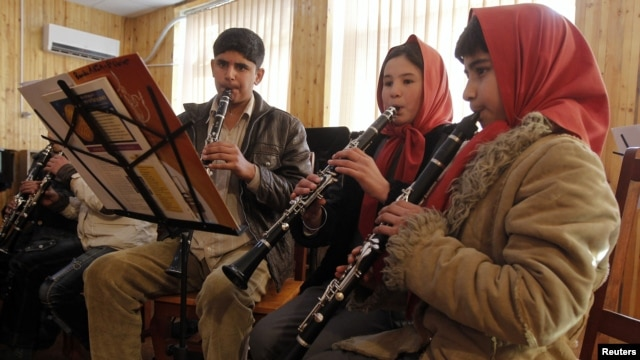 A group of youngsters from the Afghanistan National Institute of Music to perform at the Kennedy Center in Washington on February 7.