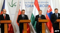 Prime Ministers Bohuslav Sobotka of the Czech Republic (left to right), Donald Tusk of Poland, Viktor Orban of Hungary, and Robert Fico of Slovakia attend a press conference in Budapest in January.