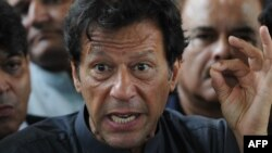 Pakistani politician Imran Khan during an appearance before the Supreme Court in Islamabad in early August.